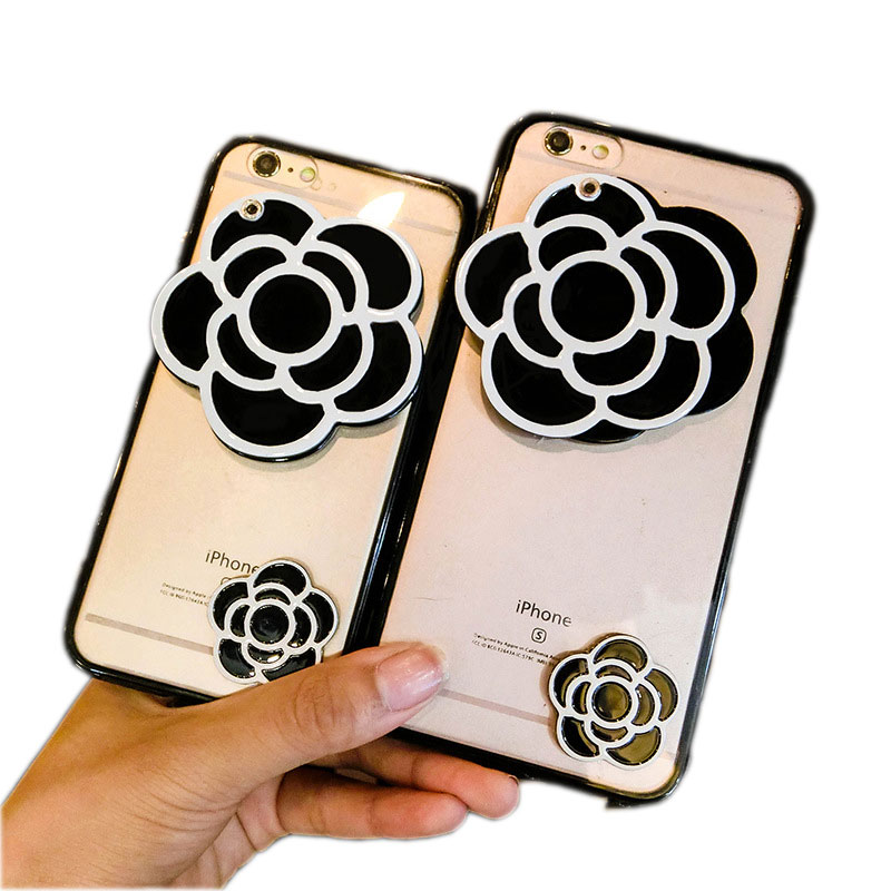 Black Camellia Mirror Strap Phone Cases iPhone 6s/7/8 Plus Mobile Accessories