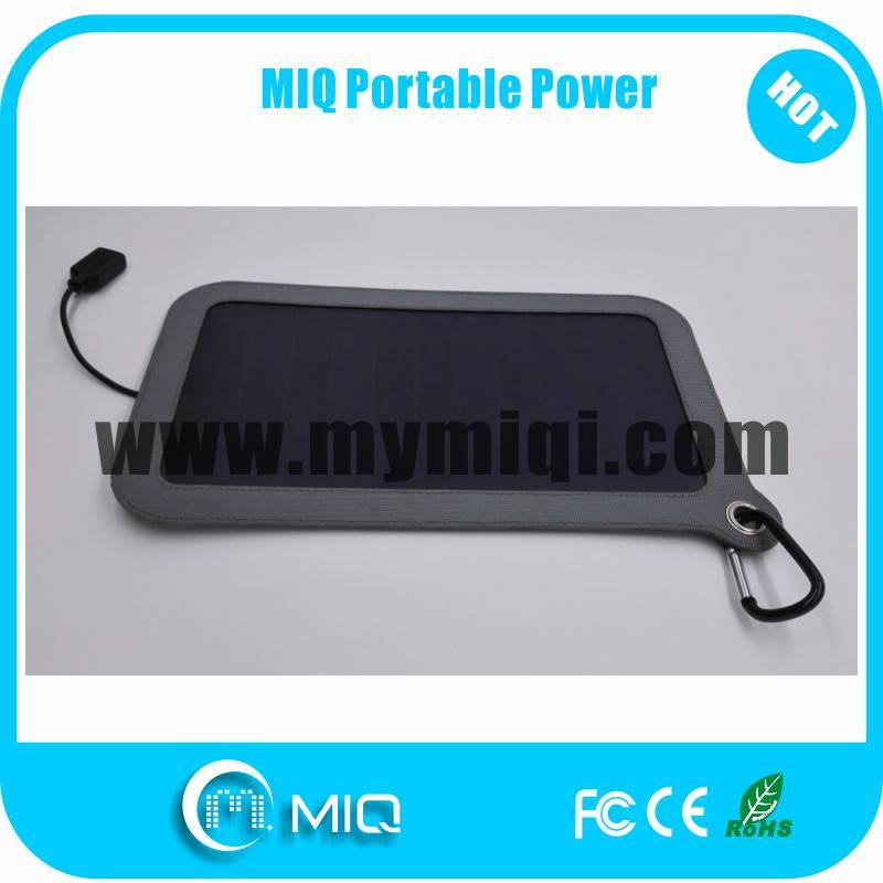 MIQ solar powered phone charger and solar power bank solar panel charger pack