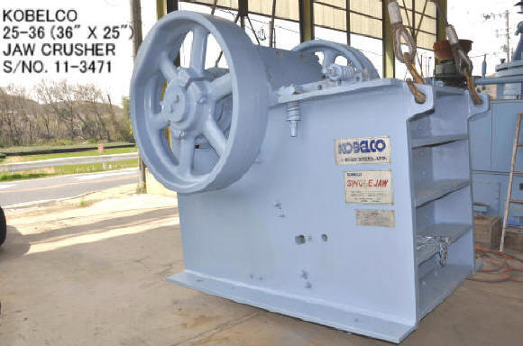 "USED ""KOBELCO"" 25-36 (36"" X 25"") SINGLE JAW CRUSHER S/NO. 11-3471 WITHOUT MOTOR"