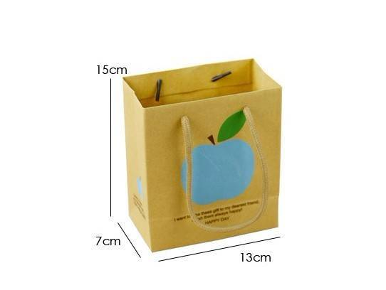 blue apple with handle paper bag