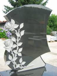 Headstone granite monument with beautiful 3D flower