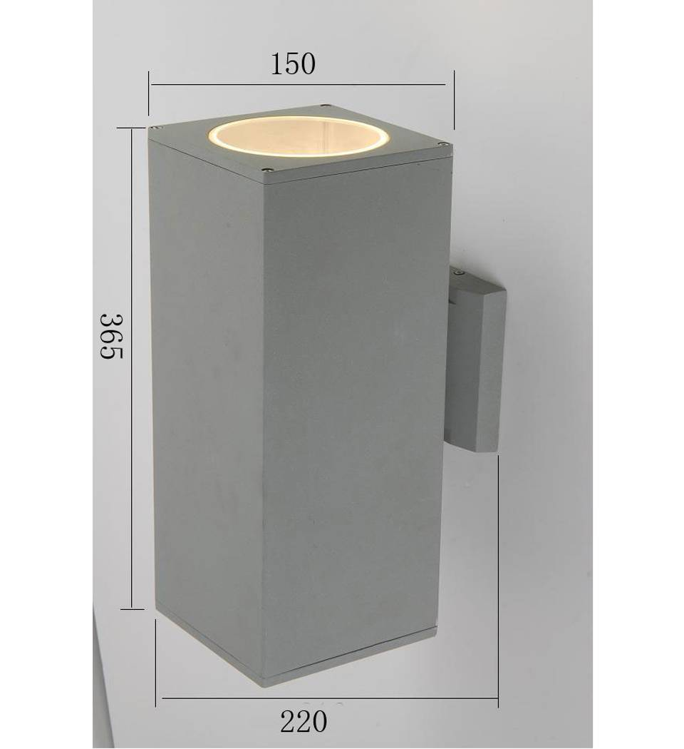 square wall light, up or down light, IP54, CE VDE SAA spproved, aluminum housing with tempered glass