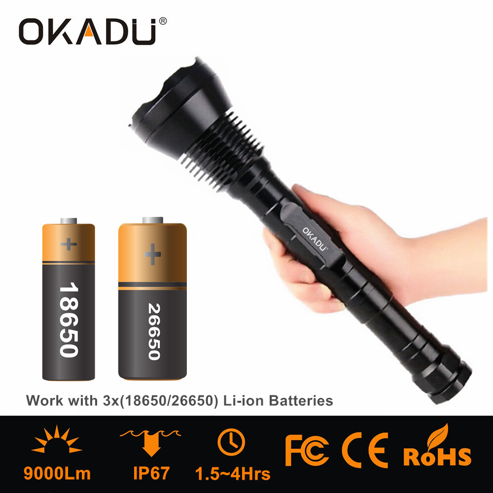 OKADU ST09 Super Bright Rechargeable 18650 Led Flashlight 9000Lumens 9 Cree XM-L T6 Led Torches