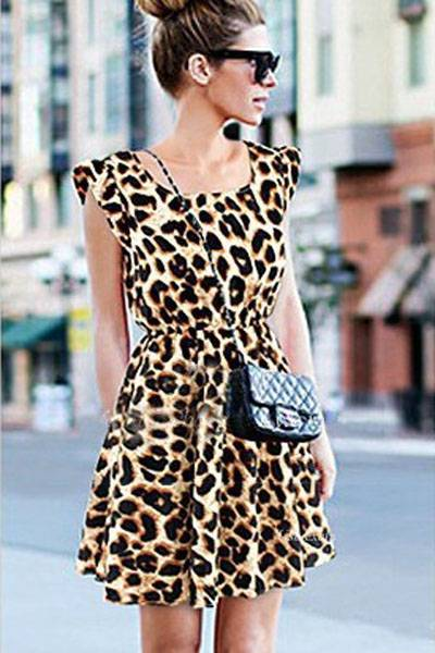 Pleat Sleeves Leopard Skater Dress