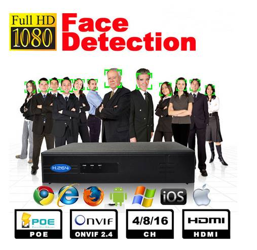 Face Detect 8CH POE NVR -1080P HD Network Video Recorder