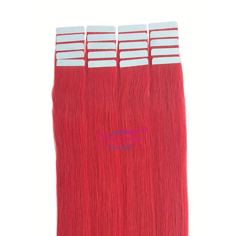 Tape hair extensions red