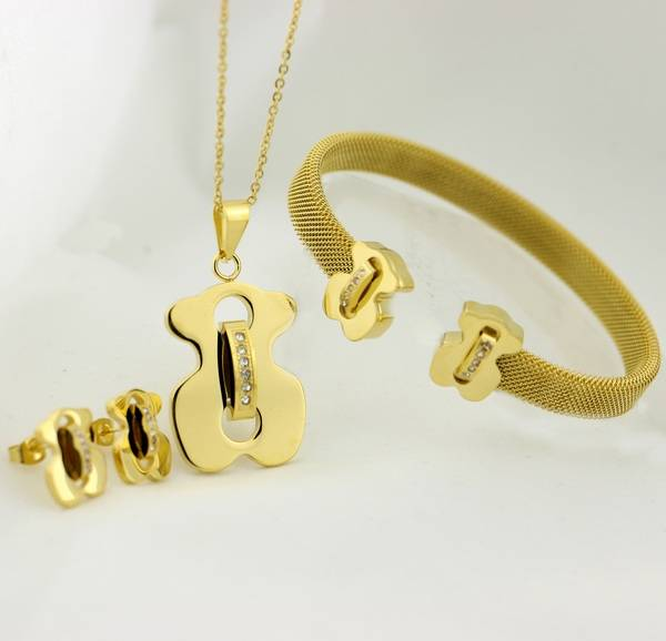 fashion stainless steel gold plated bear jewelry set