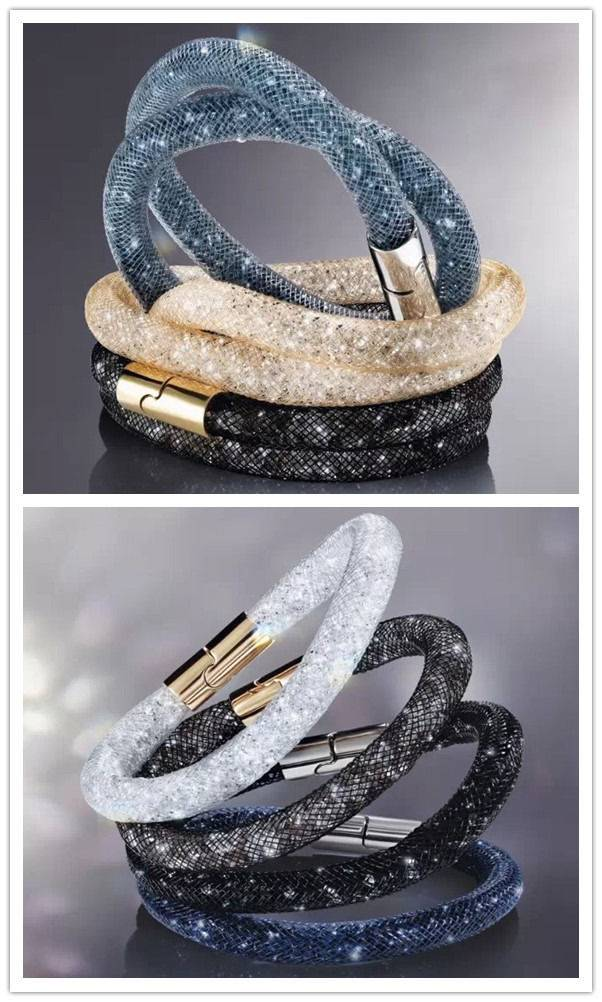 Top Quality Mesh Wrap Crystal Bracelet / Necklace Magnetic Button New 2016 Jewelry