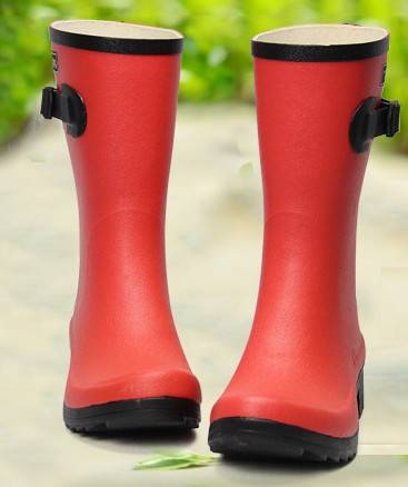 Brand New Fashion Ladies' Mid-calf 100% Two Colors Low Heel Causal Rubber Boots