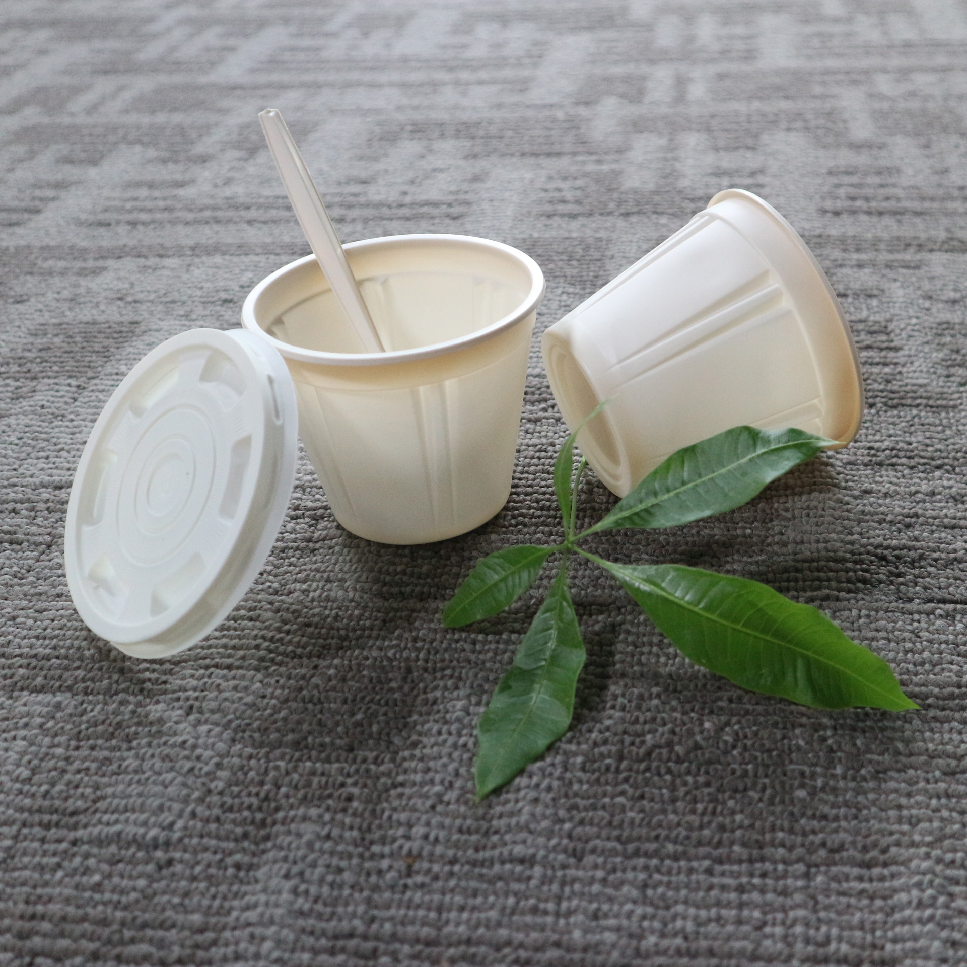 Biodegradable Food Container Cornstarch Disposable Soup Bowls with Lids