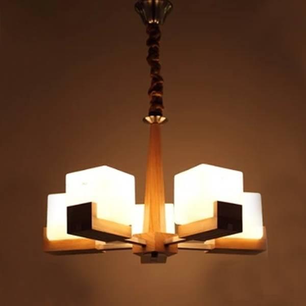 e27*5 wood pendant light for living room