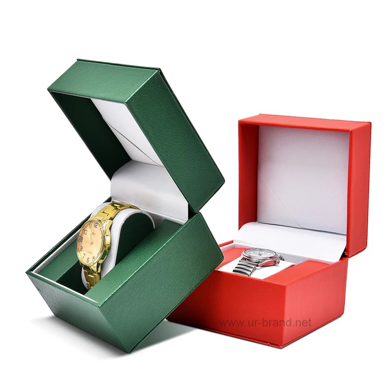 Square watch box covered PU leather, with stitching outside, custom sponge pillow for holding the wa
