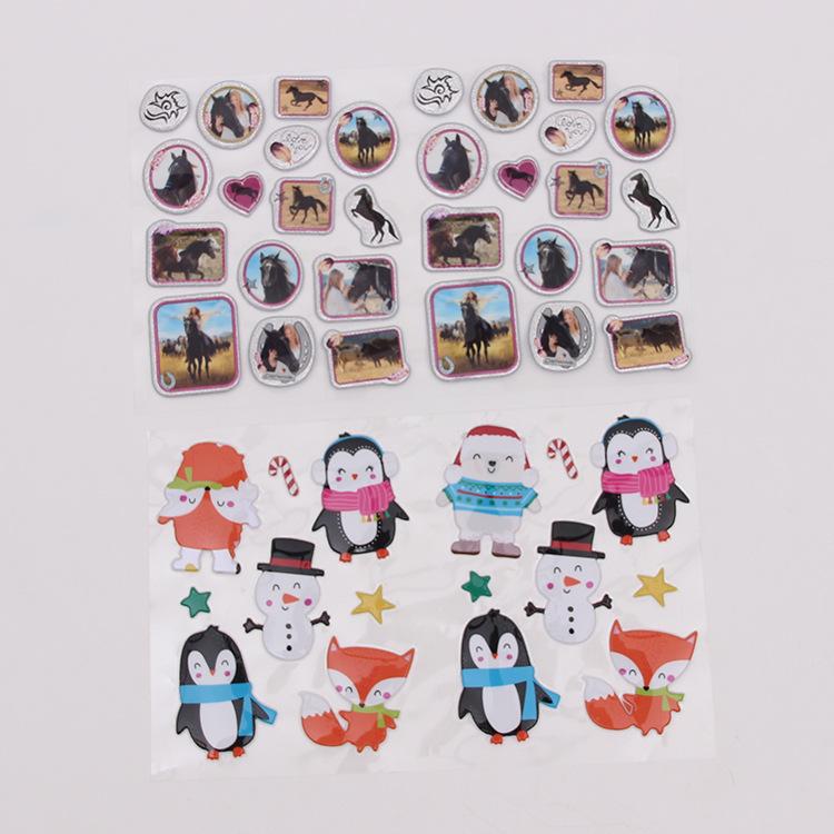 Puffy Glitter Sticker Cute Penguin Sparkly Glitter Puffy Sticker Set