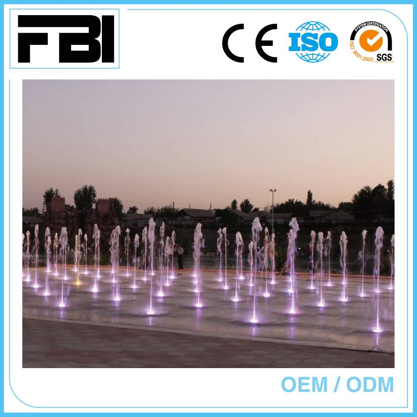 dry dancing fountain, outdoor music fountain, running fountain