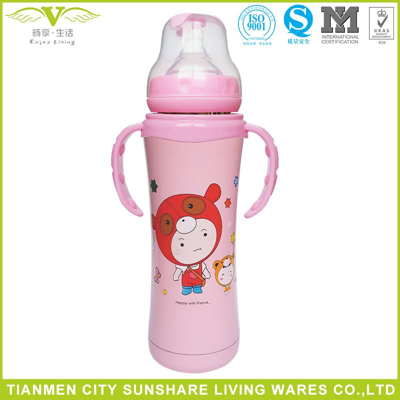 Double Layers Stainless Steel Vacuum Heat Insulation Baby Feeding Bottles
