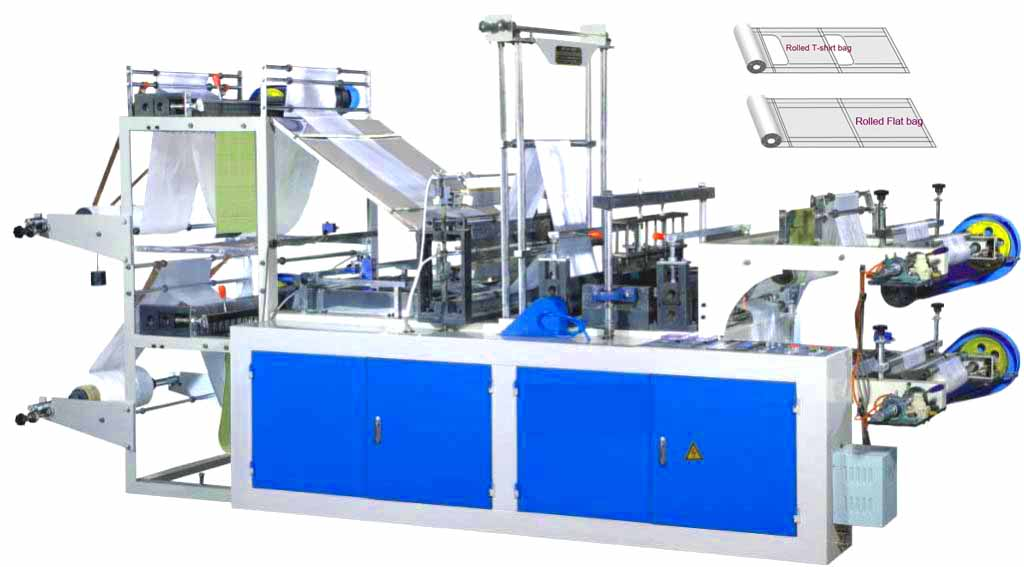 Perforated Flat Open Bag/T-shirt Bag on roll Making Machine