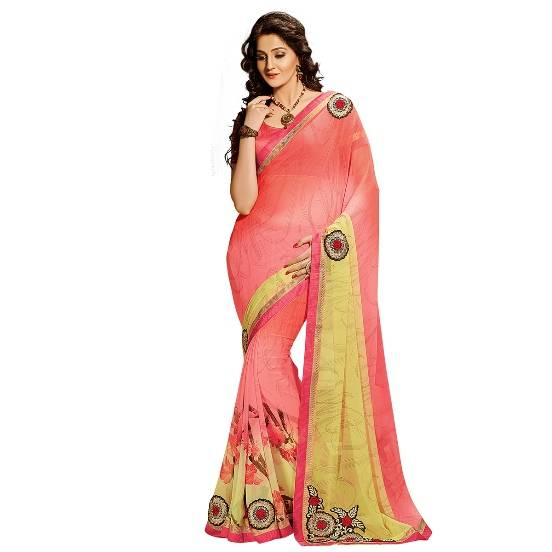 Shonaya Pink & Yellow Colour Georgette Embroidered Sarees With Blouse PieceSGDN2-4856