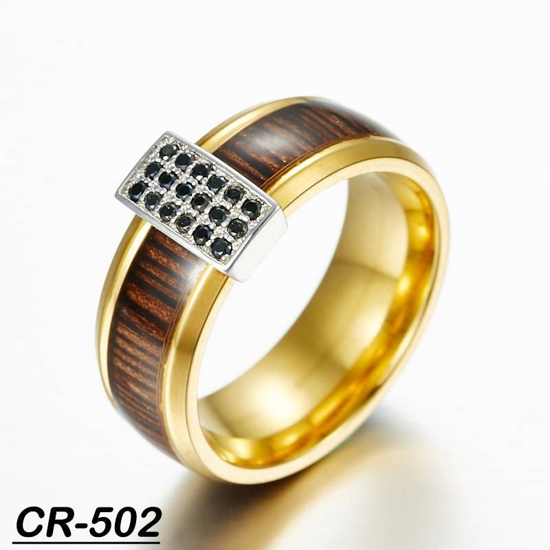 fashion wedding ring tungsten and silver ring combined ring with wood and cz
