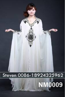 White chiffon Arabic abaya embroidery beaded bat sleeve design