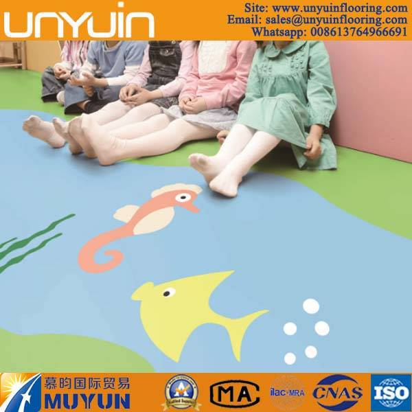 Foam Backing Pure Color PVC Floor for Kindergarden
