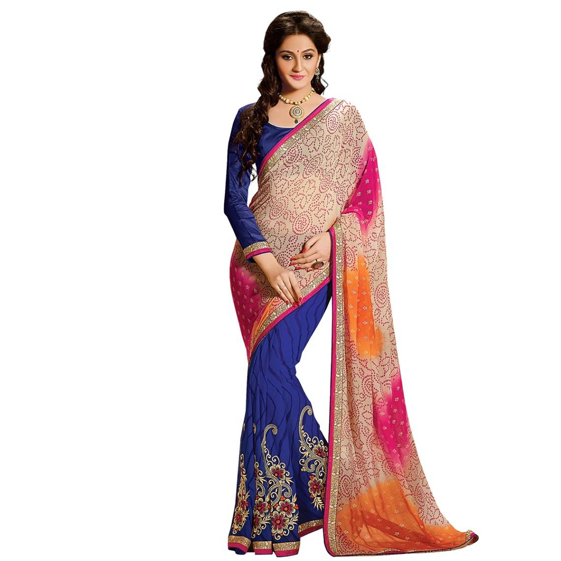 Shonaya Multicolour Georgette Embroidered Sarees With Blouse PieceSGDN2-4867