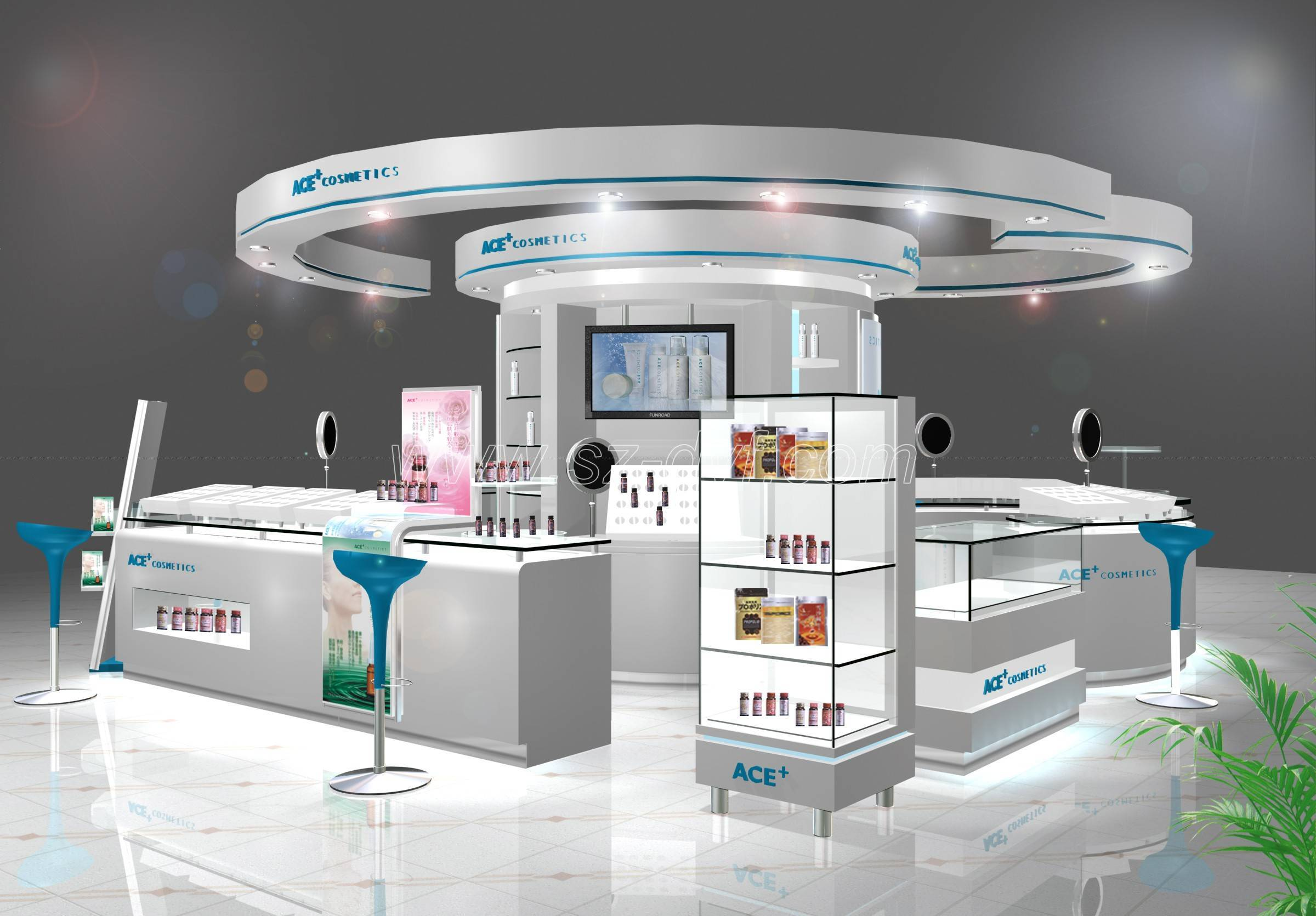Exhibition Stands Product : Cosmetics display showcase kiosk stand shenzhen