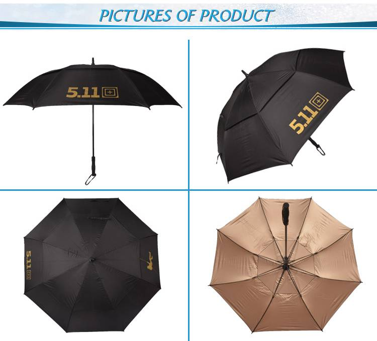 High Quality Double canopy and Fiberglass Frame Promotional Golf Umbrella