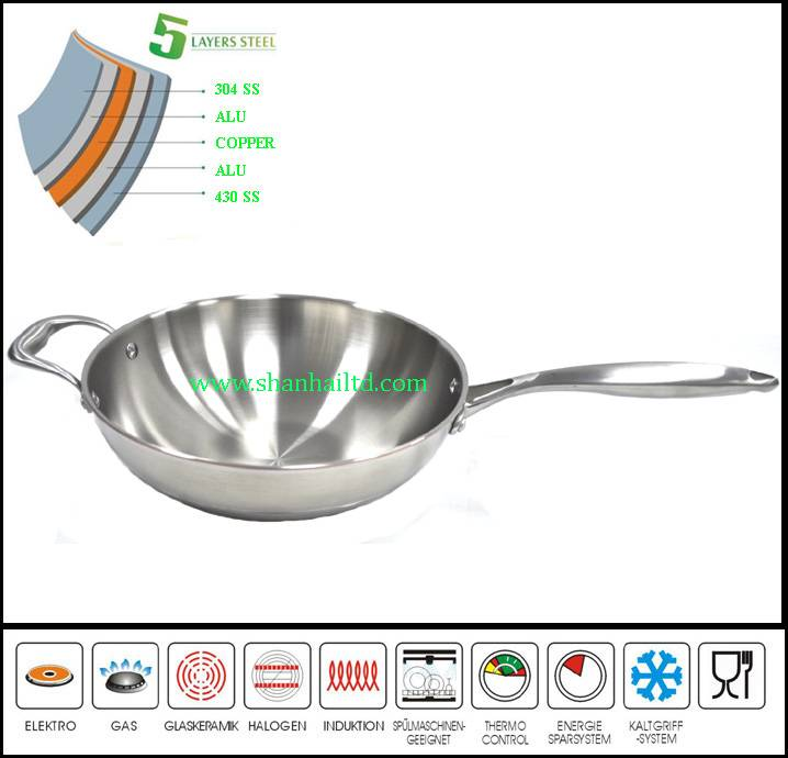 Best selling 5 Ply gas wok chinese wok pan