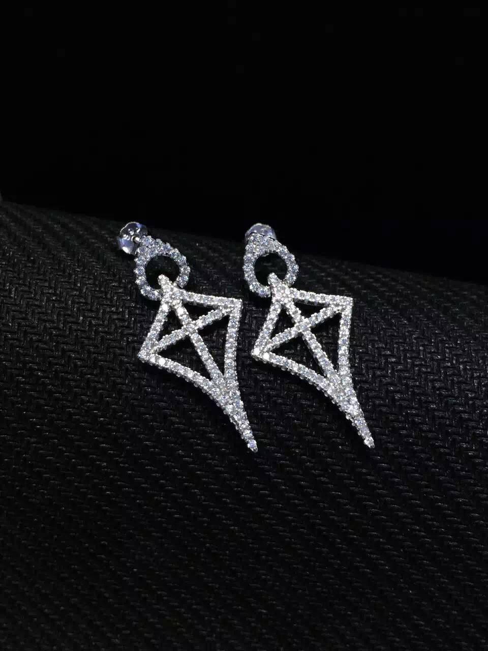 NEFFLY 2016 New Design 925 Sterling silver diamond star stud earrings Fashion Jewelry beautiful.