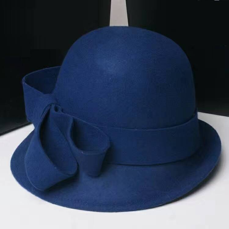 100% Wool Felt Hats with Cloche Shape in Navy