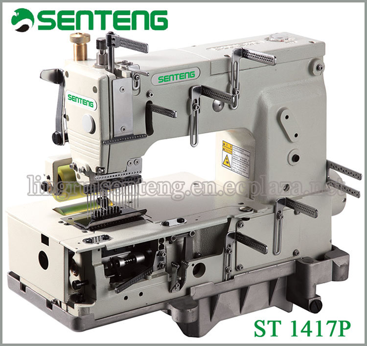 ST 1417P needle Flat-bed Double Chain Stitch Sewing Machine