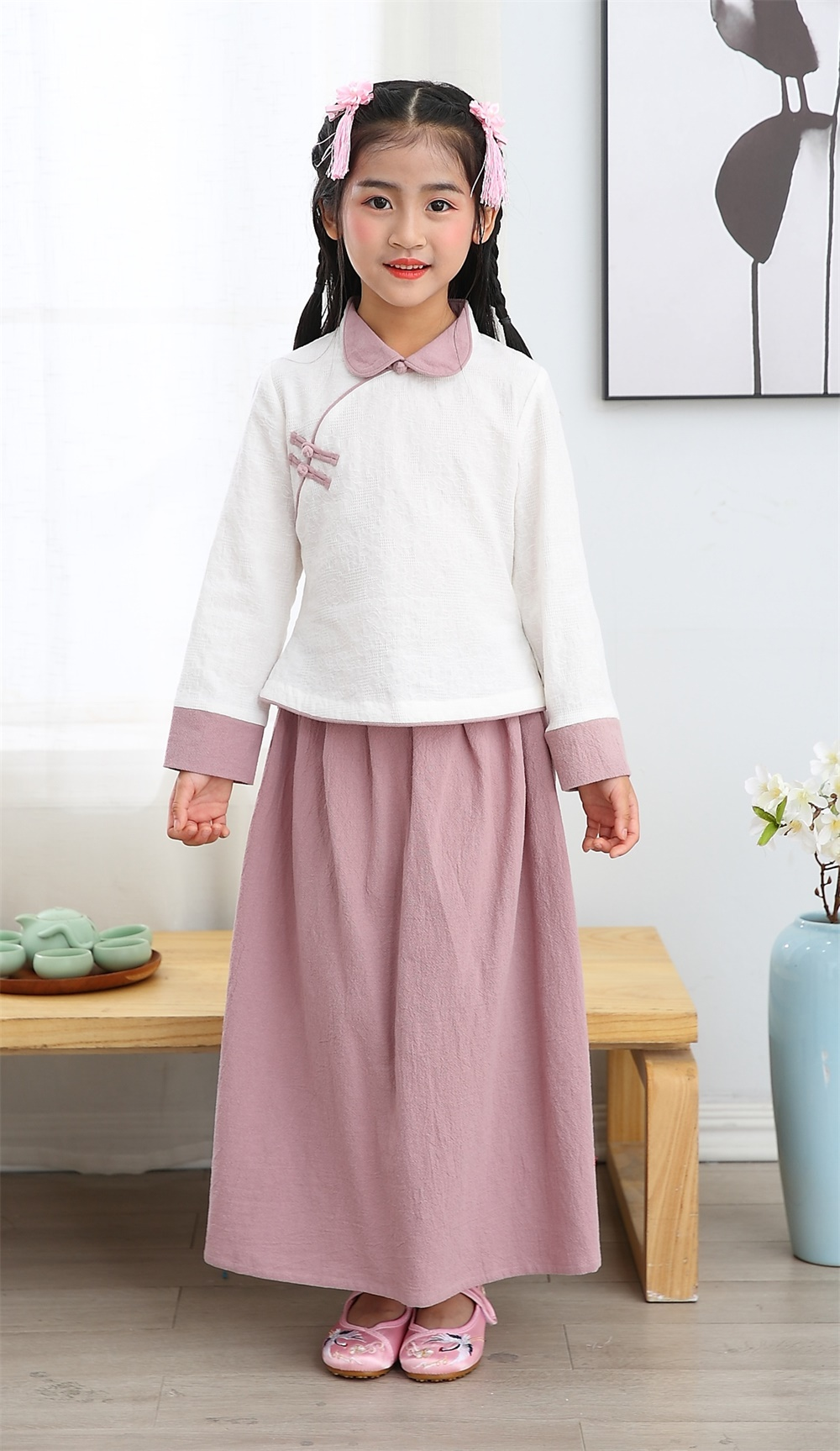 Girl summer 100% cotton long sleeve mandarin colar two piece sets Tang suit Chinese traditional clot