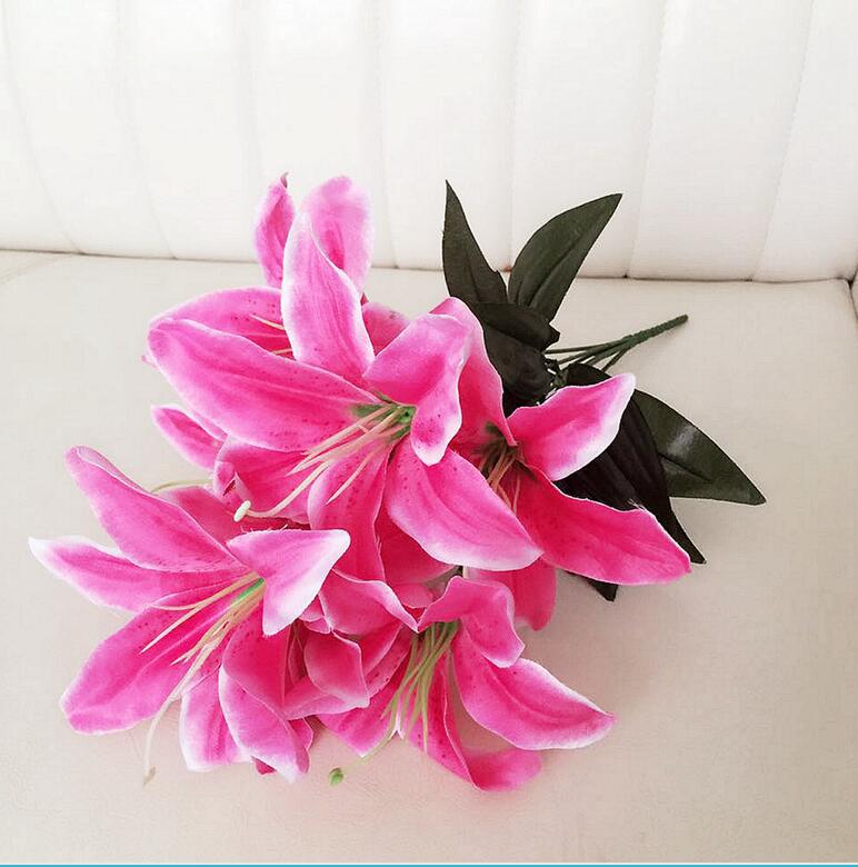 1Bunch Multicolor Artificial Lily Flower Bouquet Fake Flowers Bridal Flower for Wedding Wreath Decor