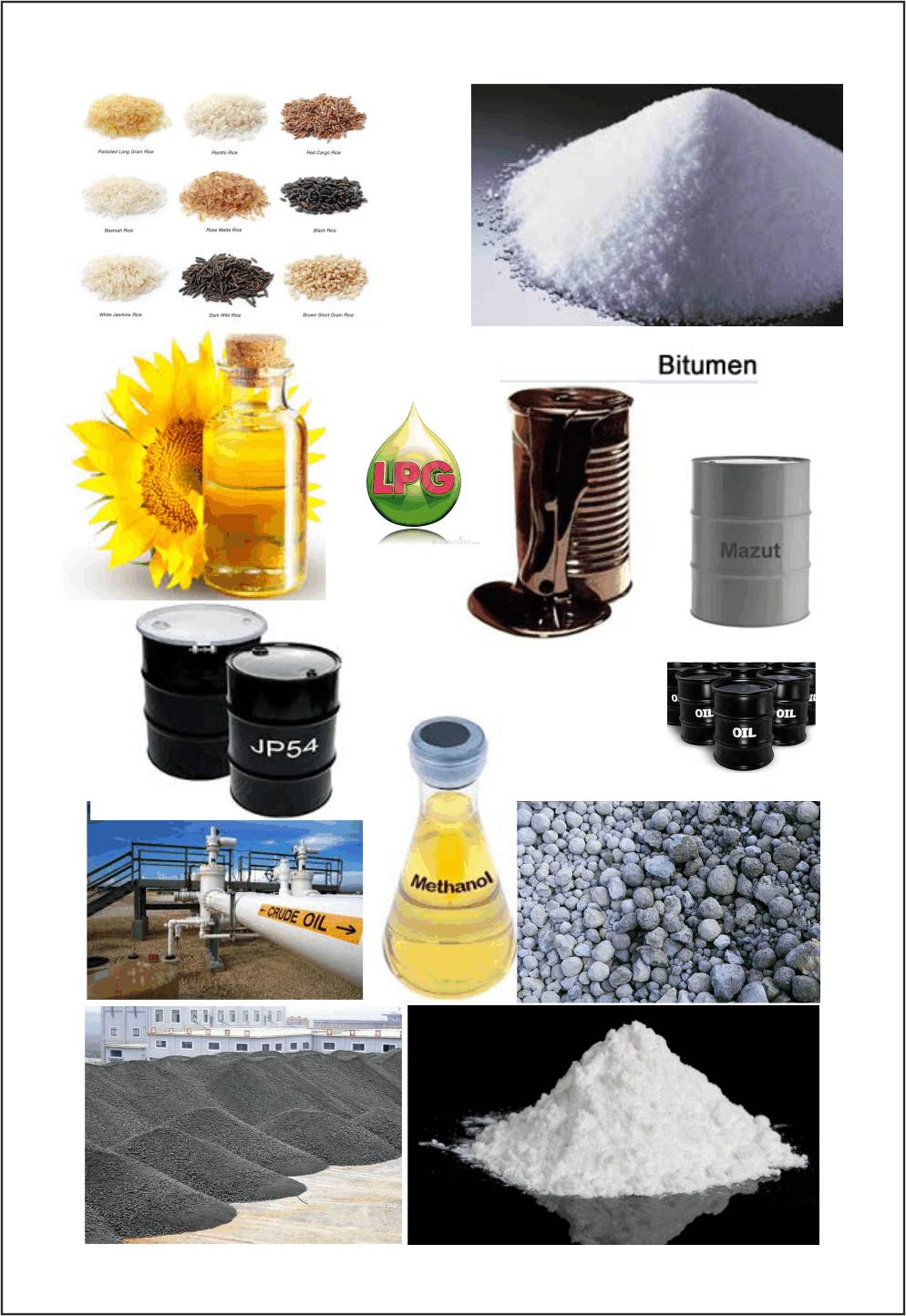 Crude Oil, PropaneButane, Methanol,Bitumen,Mazut,D2,JP 54 etc. and Minerals such as Lime stone,Gypsu