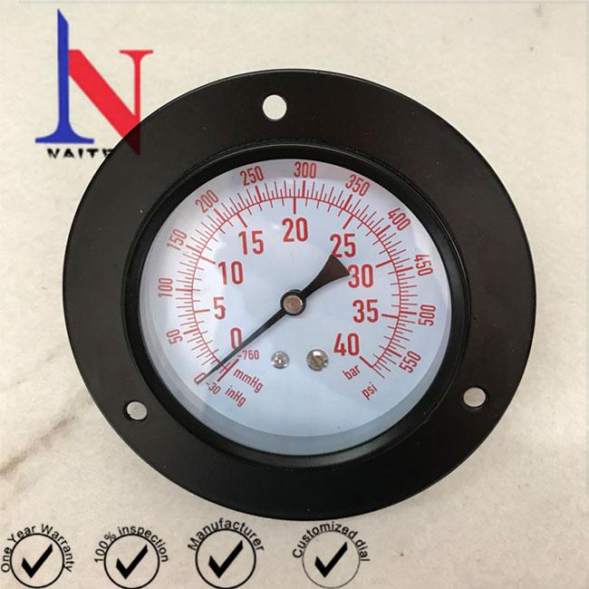 63mm Back Connection Mild Steel Refrigerant Pressure Gauge