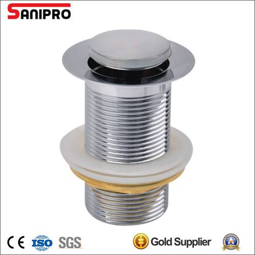 Sanipro 1 1/4'' Brass Pop up basin drain without overflow CP