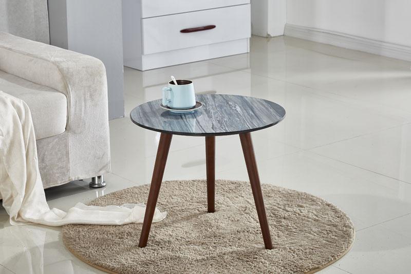 Marble Effect Top Beech Wood Legs Side Table