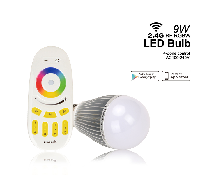 milight rgbw bulb wifi 9w e26 and Rf remote control 9w wifi e27 bulb and dimmalbe multiple color rgb