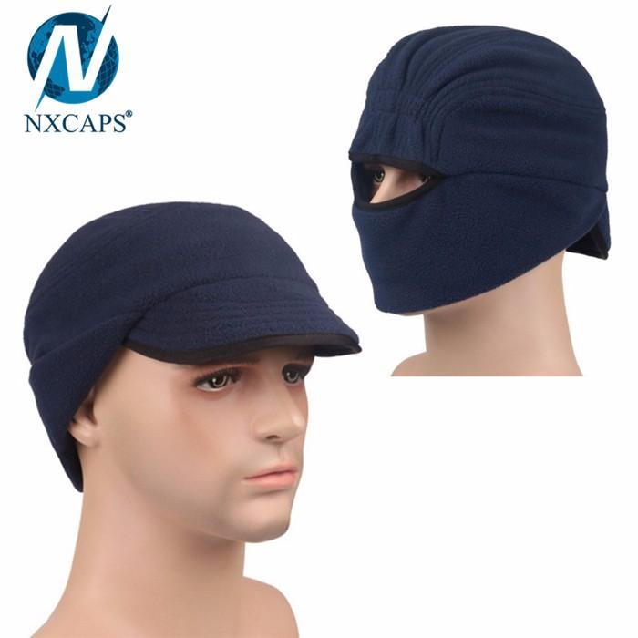 Unique mens winter cap polar fleece earflap hat with visor hats and caps women windproof outdoor cap