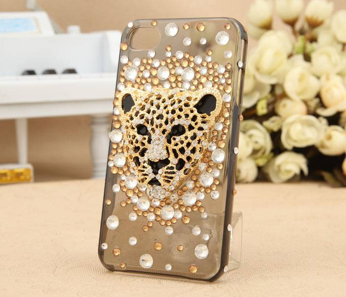 leopard head diamond-encrusted Mobile phone cases
