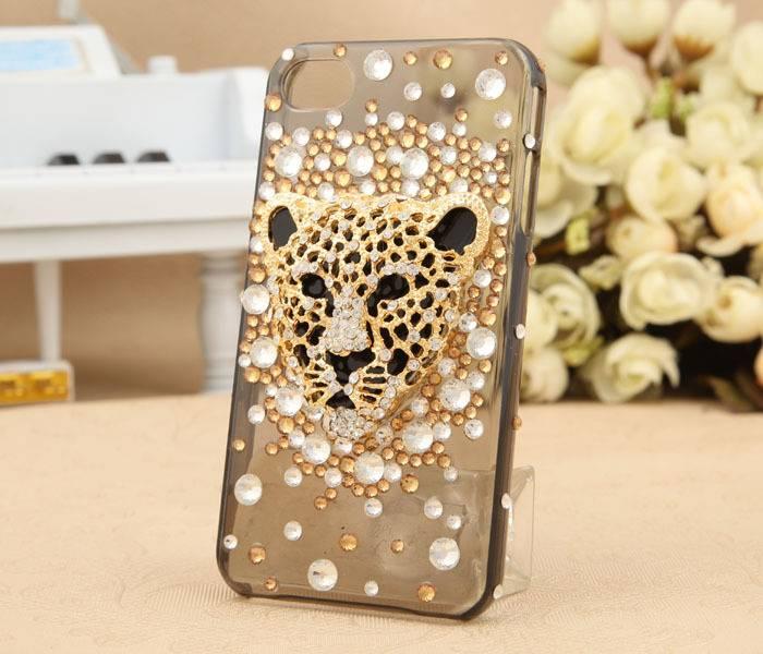 leopard head diamond-encrusted Mobile phone cases