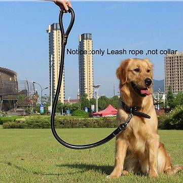 High quality black PU Leather rope big dog Leash rope ,Pet leash rope collar for middle dog and smal