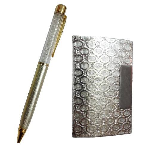 Silver Plated - Crystal Studded Pen & Business Card Holder - Corporate Set