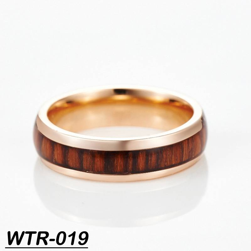 latest rose gold ring designs santos rose wood inlay tungsten engagement ring
