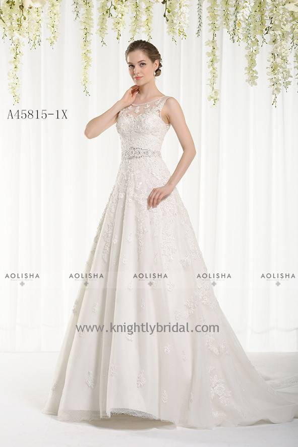 Lace Beaded Tank Top Neck Beaded Belt Gown WEDDING DRESS