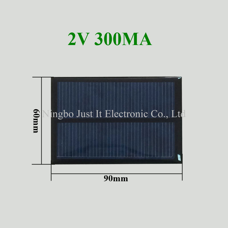 2V 300mA 0.6W 90x60mm Epoxy Resin Solar Cell
