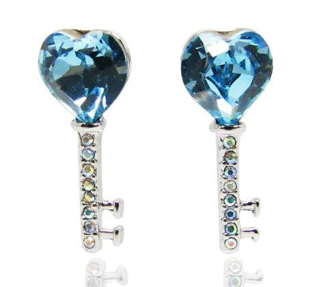 Wholesale Romantic love key series earrings with heart shape aquamarine Swarovski element crystal fo