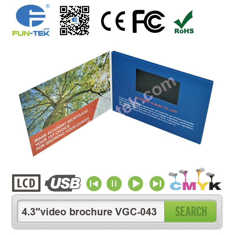 A5 Landscape 4.3 inch Video Brochure LCD in Print Advertising Player Mailer VGC-043