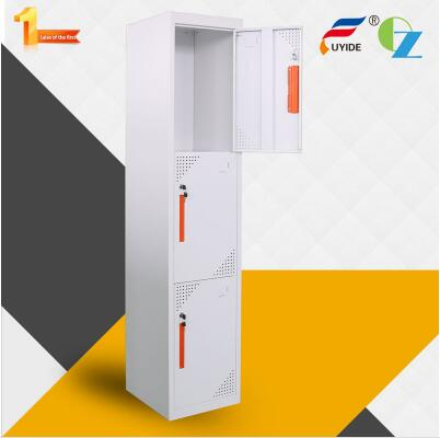 Modern and strong shelf support 3 door metal locker suppliers from China