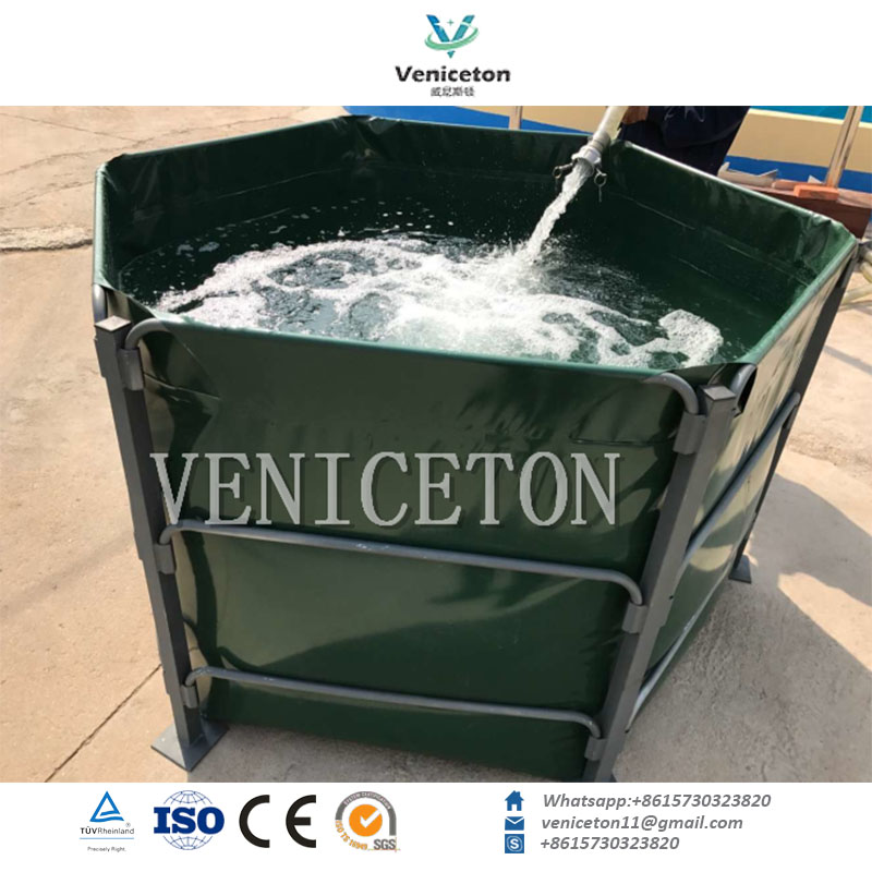 7000L, 5000L, 3000L Round or Square PVC frame water tank for fish farm